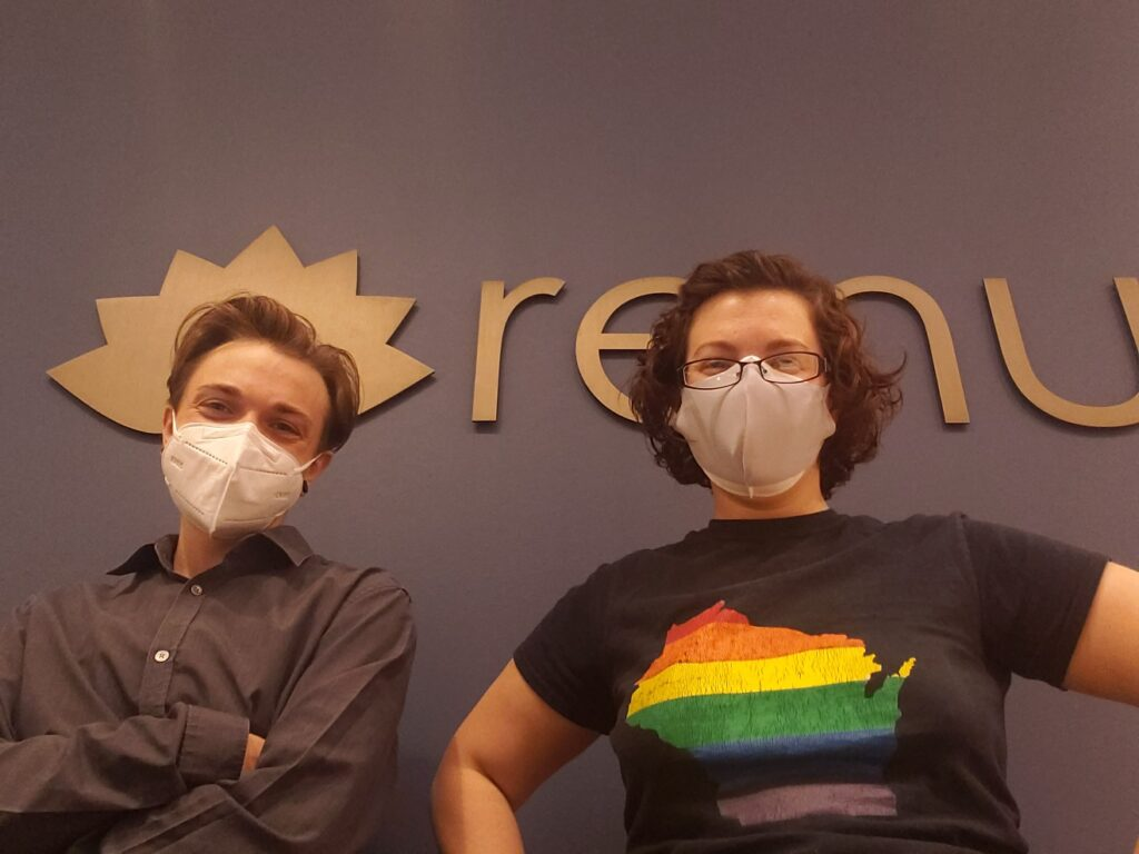 Cy-and-Amanda-masked-Renu-front-desk